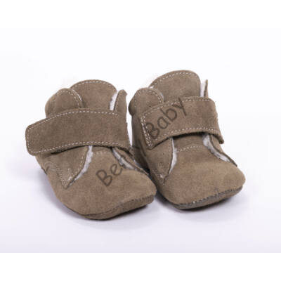Baby Leather Shoes: Khaki Velour (with velcro) Size 18