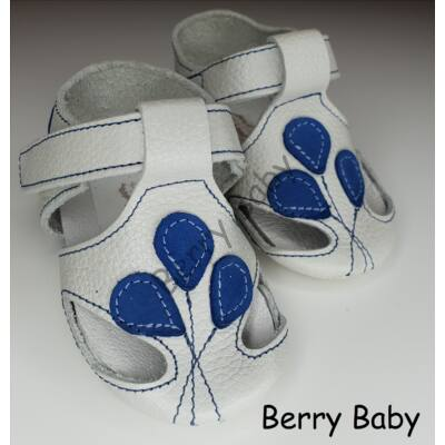 Baby Leather Shoes: White-Blue Balloons Size 17