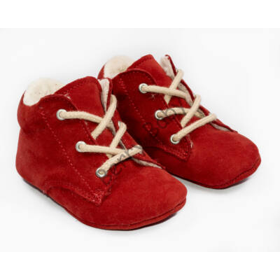 Baby Nubuck Leather Shoes: Red(with shoelace) Size 19
