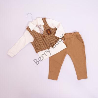 4 part elegant suit set for little boys- brown chequered vest: 18 months