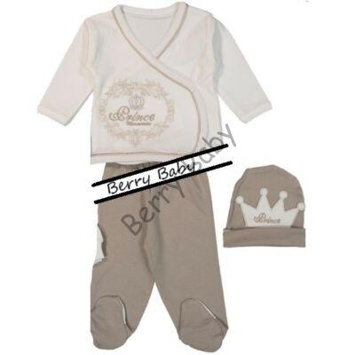 3 Parts elegant set for little boys- Size: 68- Beige Crown