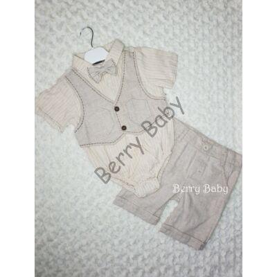 2 Parts Elegant Little Boy Set with Shorts and Bodysuit Size:86 Beige Vest