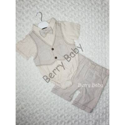 2 Parts Elegant Little Boy Set with Shorts and Bodysuit Size:92 Beige Vest