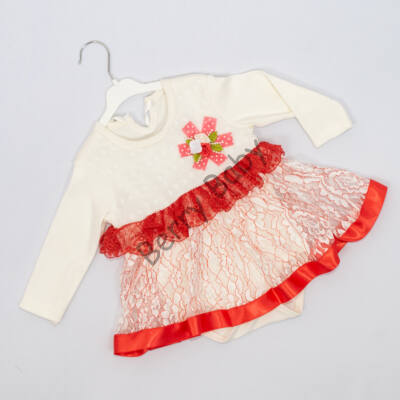 Little girl bodysuit dress for event 9-12 months- Coral