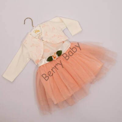 LIttle Girl Dress for Events: for 1 year old babies- Peach 2 parts