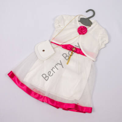 Elegant Dress for Little girls- Pink-White Size: 1 year