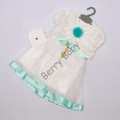 Elegant Dress for Little girls- Mint-White Size: 1 year
