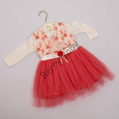 Little girl dress for events: for 1,5 year old babies- 2 parts set Coral