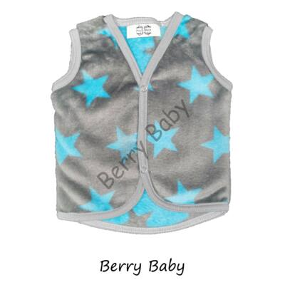 Berry Baby wellsoft vest - Gray- Turquoise Stars 0-6 months