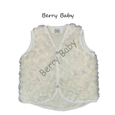 Berry Baby wellsoft vest - Rose shape fur- Cream 0-6 months