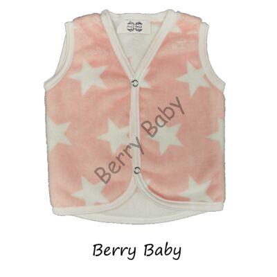 Berry Baby wellsoft vest - Peach- White Stars 0-6 months