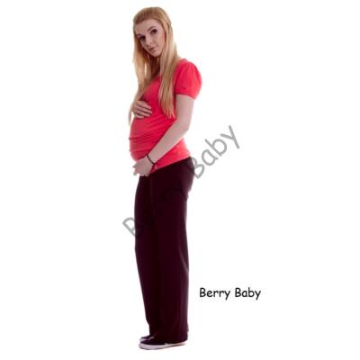 Cotton Maternity Trousers with Straight Cut: Brown M