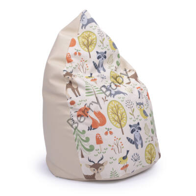 Drop-Shaped Bean Bag-Beige ECO Leather- Forest