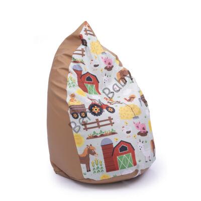 Drop-Shaped Bean Bag- Caramel ECO Leather- Farm