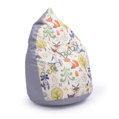 Drop-Shaped Bean Bag- Gray ECO Leather- Forest