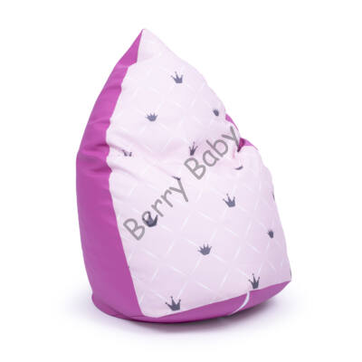 Drop-Shaped Bean Bag- Pink ECO Leather- Rose Chesterfield