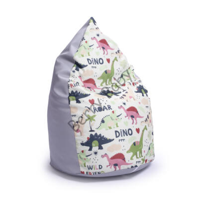 Drop-Shaped Bean Bag- Gray ECO Leather- Dino