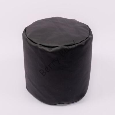 Bean Bag Pouffe: Black Eco Leather