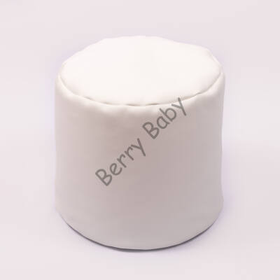 Bean Bag Pouffe: White Eco Leather