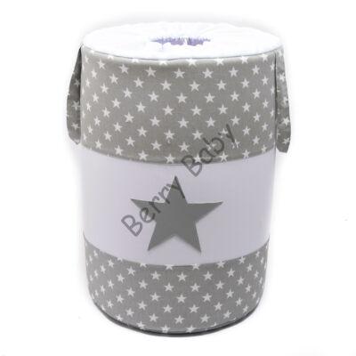 Laundry Basket- Toy Storage: Gray Stars