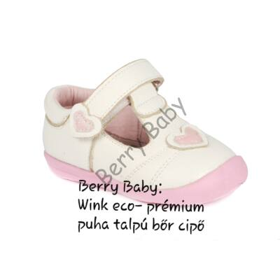Wink eco- baby and child shoes- White hearts open shoes- Size: 17