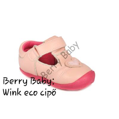 Wink eco- baby and child shoes- Peach hearts open shoes- Size: 21