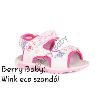 Wink eco- baby and child sandals- White-Pink Size:23